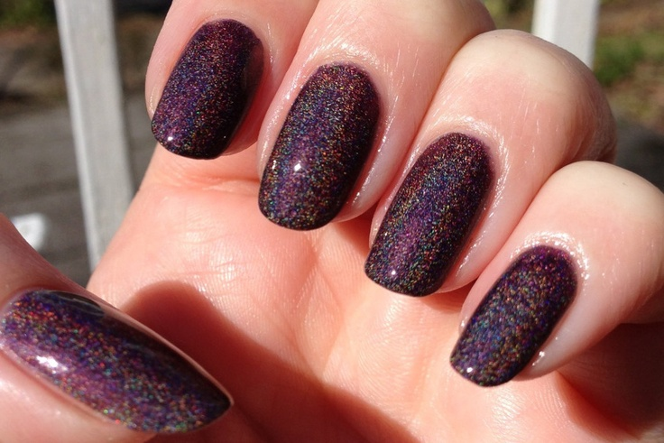 "Euphoria Nail Polish -  Chocolate Plum Linear Holographic - Full Size 15 ml Bottle -""This item made the front page of Etsy"". $11.00, via Etsy."