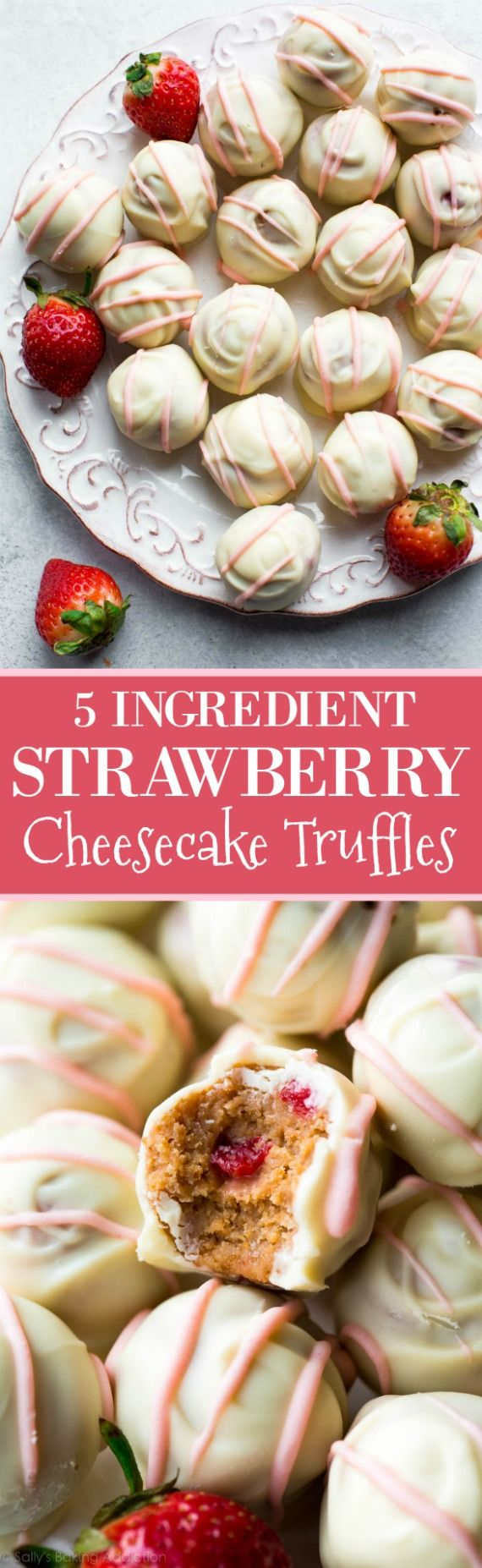 EASY 5 ingredient strawberry cheesecake truffles made with cream cheese, fresh strawberries, white chocolate, and graham cracker!