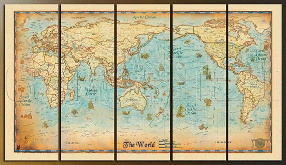 Political Vintage Ancient World Map Diptych Triptych Multi