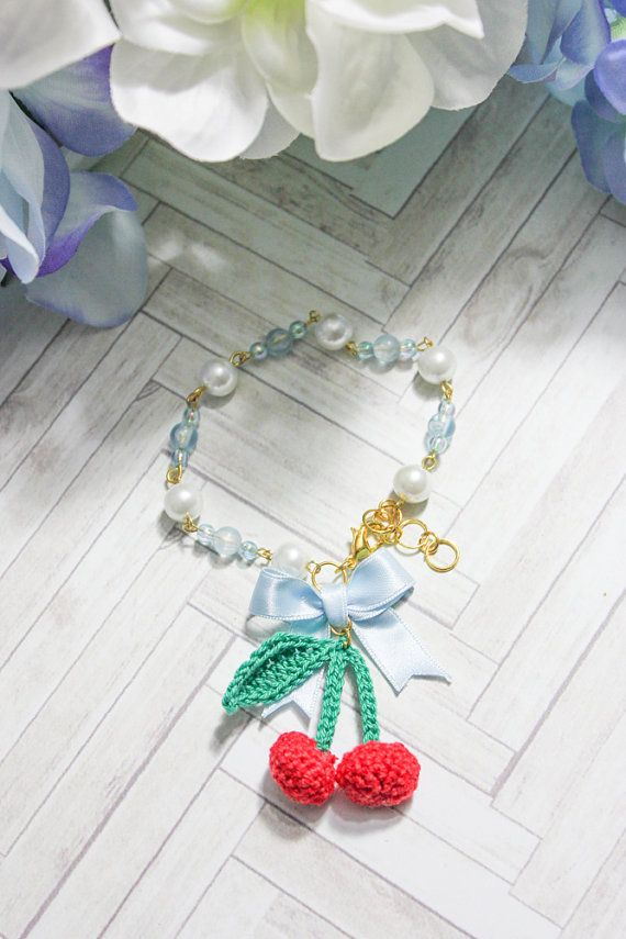 Cherry & Bow Bracelet. by BlueberrySodaShop on Etsy