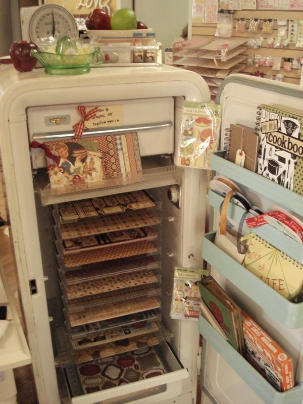 Store Display Ideas for crafts | An old fridge, what a cool idea! | Store & Craft Show Display Ideas