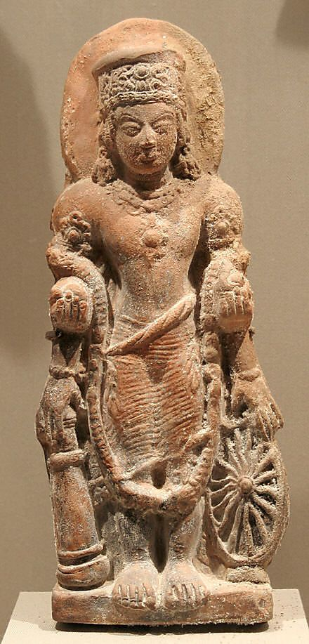 Standing Four-Armed Vishnu,Gupta period.5th century,India Terracotta