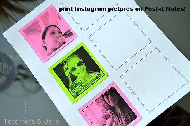 print instagram pictures on post-it notes - love this from tatertots and jello!