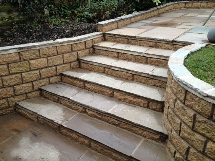 Indian Stone Patio And Steps With Retaining Walls!