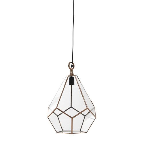 This copper finish metal pendant lamp is perfect for incorporating shapes to interiors