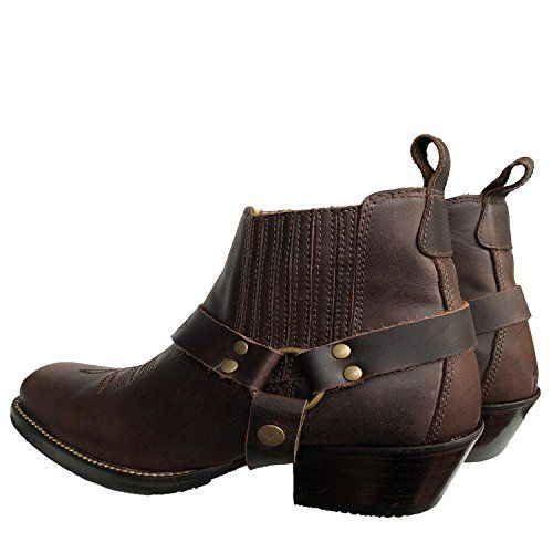 5598dee4ad Brunello's Silverado Men's Leather Square Toe Western Boot with Low Cut in  Coffee Brown,#Leather, #Square, #Men, #Brunello