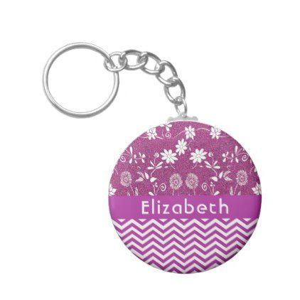 Purple chevron zigzag pattern flowers and glitter keychain - girly gifts girls gift ideas unique special