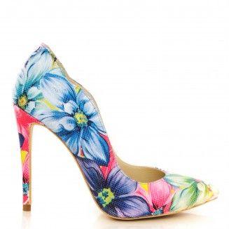 pantofi dama din piele naturala 1501 flori mari