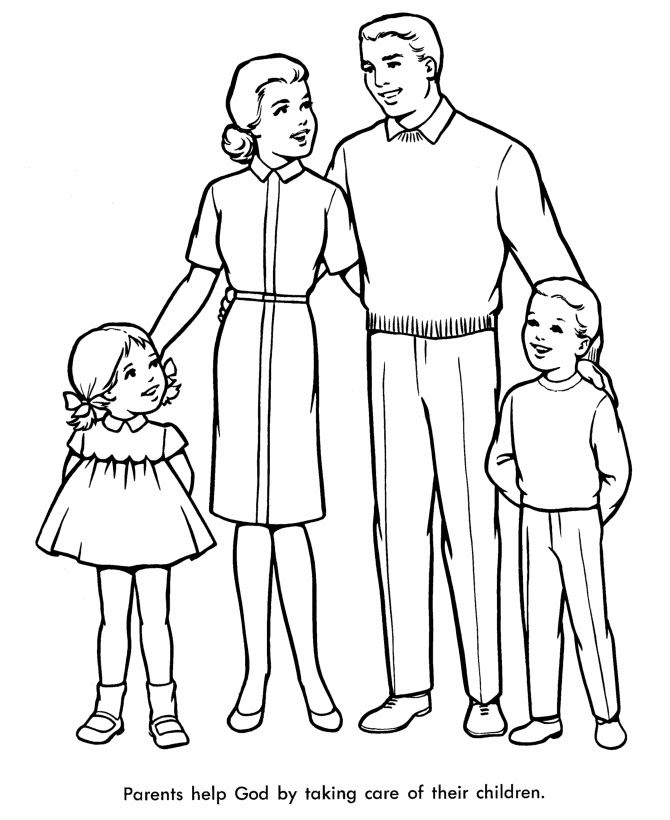 Church Coloring Pages - Church Family | HonkingDonkey