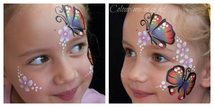 Butterfly Garden, face painted by Stephanie, www.colour-me-in.co.nz. You don't have to have a full face paint to have a rainbow butterfly. This design is a great option for younger children or those who don't want the area around their eyes painted.