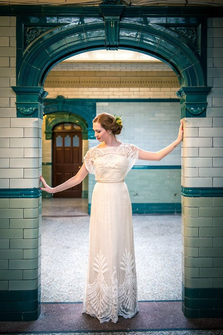 Omelia Catherine Deane Dress Gown Vintage Bride Bridal Quirky Film DIY Wedding http://jamestraceyphotography.com/