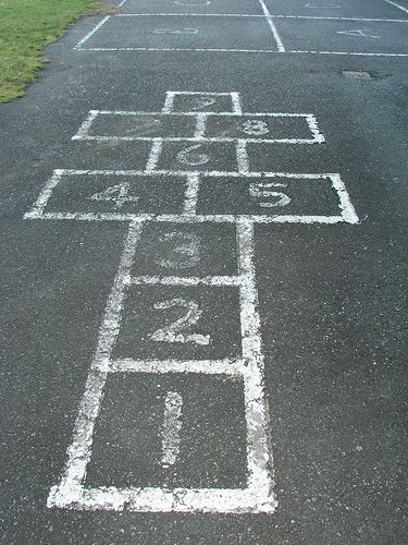 All hopping is done on one foot unless the hopscotch design is such that two squares are side-by-side.