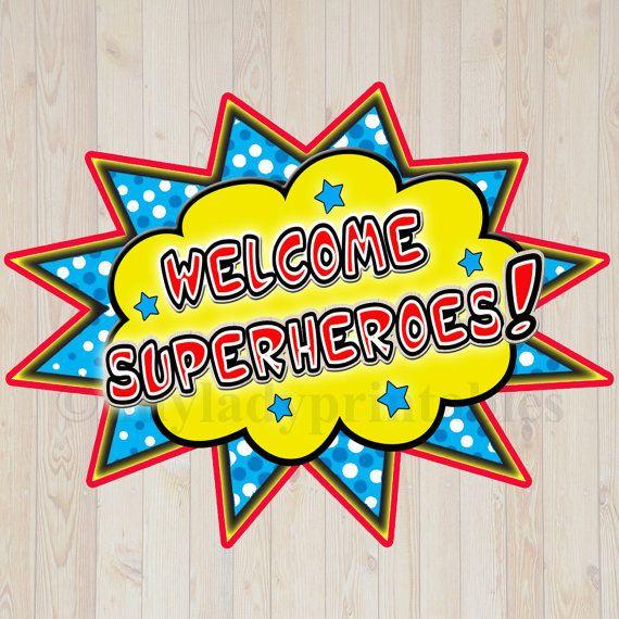 Superhero Classroom Decor Printables ~ Printable welcome superhero sign instant download