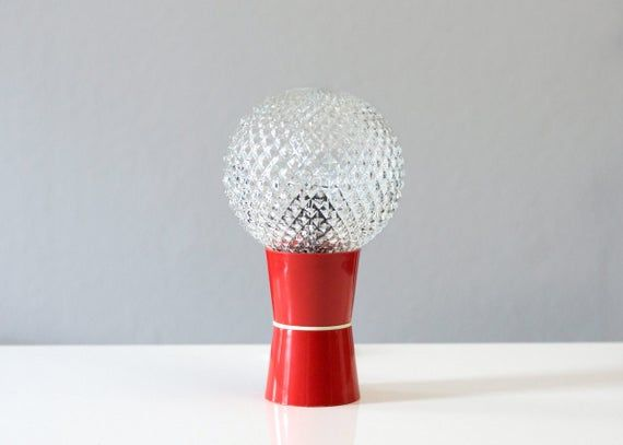 Mid Century Bedside Lamp Old Gdr Table Lamp 70s Space Age Red Vintage Retro Ball Glass Retro Table Lamps Bedside Lamp Mid Century Lamp