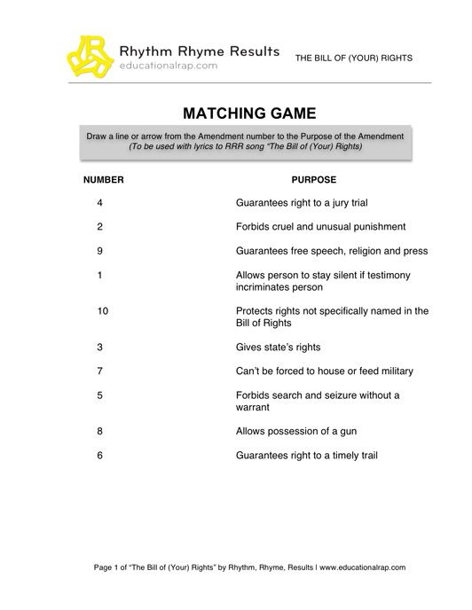 Printables Bill Of Rights Matching Worksheet pictures bill of rights matching worksheet kaessey