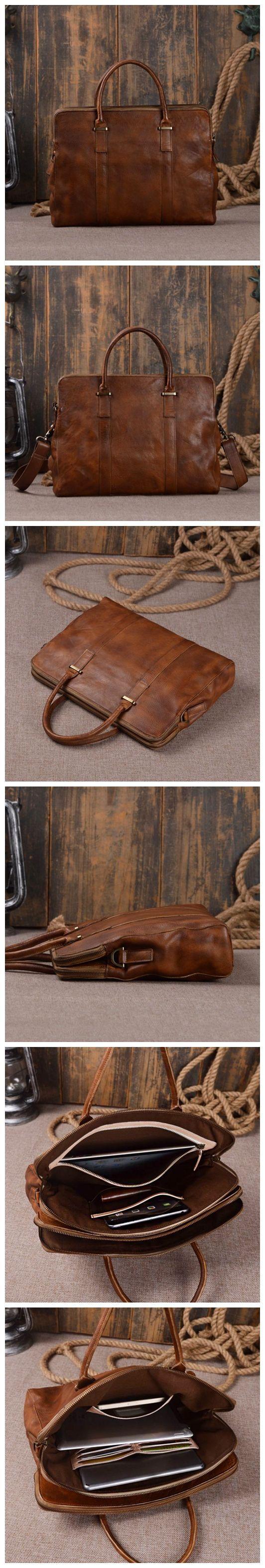 Men Italian Leather Portfolio Laptop Bag Men High Quality Leather Briefcase Messenger Shoulder Handbag Men's Briefcase