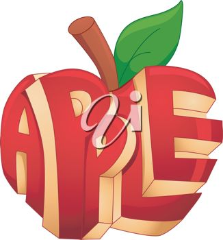 Text Illustration Featuring a Carved Apple