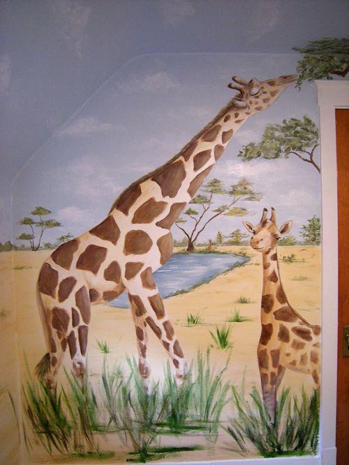 Giraffes - Mommy Giraffe and Baby Giraffe - Nursery Mural