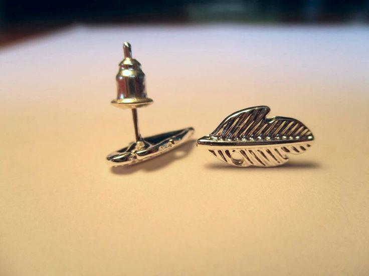 Silver Plated Leaf Stud Earrings | Trade Me