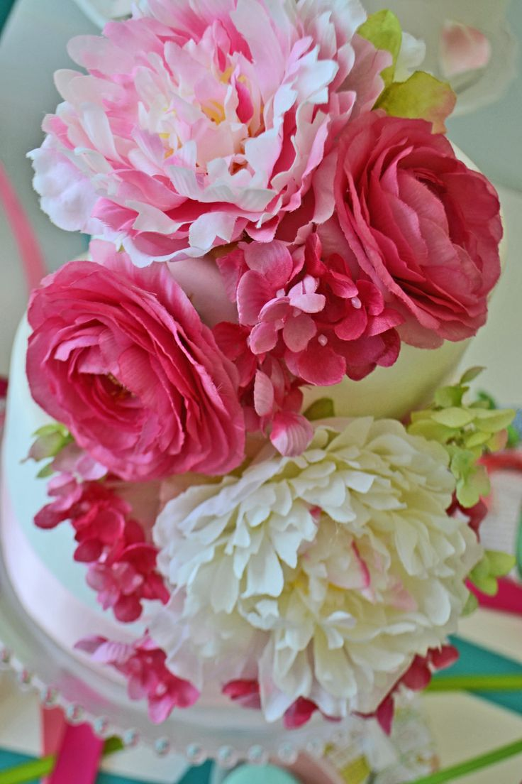 Floral bridal shower cake with peonies and hydrangeas. By Bake Sale
