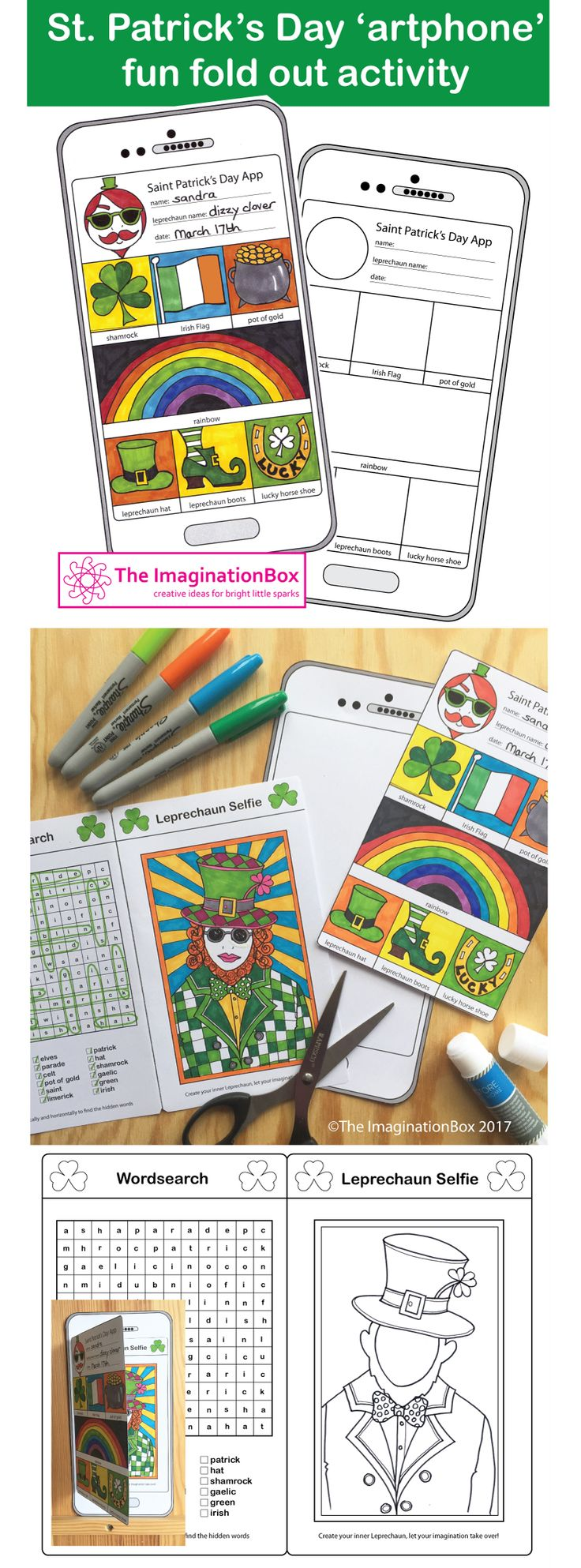 Celebrate St. Patrick's Day and engage children creatively with this fun, fold out Instagram style, 'tech' mobile phone/tablet art activity. This activity invites students to cut out and make their own fold out booklet style art-phone, and then to complete the image making on the front cover and the wordsearch and 'release your inner leprechaun' selfie activity on the inside pages. The finished 'artphone' measures 5 x 10 inches / 13 x 25.5cm.