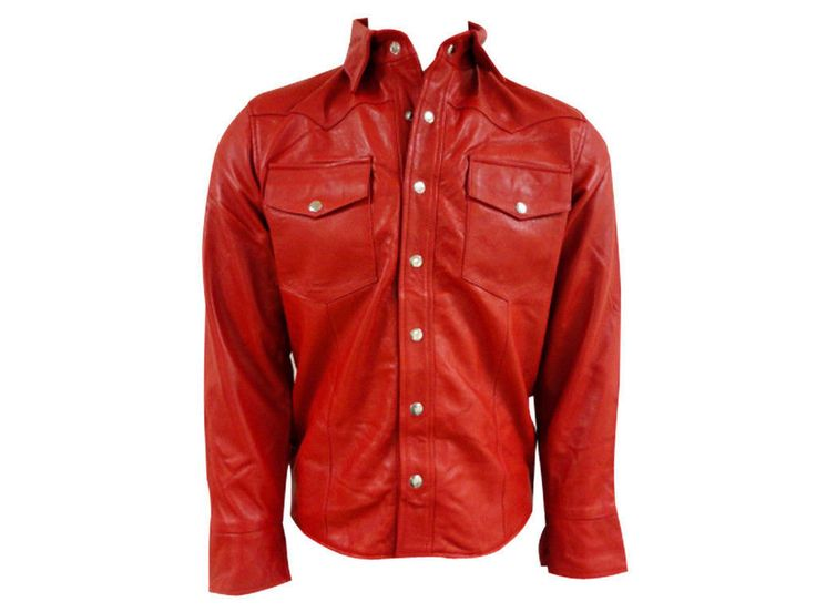 MEN LEATHER SHIRT GENUINE LAMBSKIN LEATHER MILITARY POLICE STYLE CAUSAL SHIRT 34…