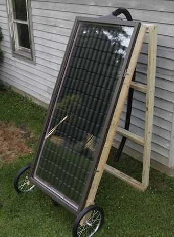 solar heater made from aluminum cans to heat a small home