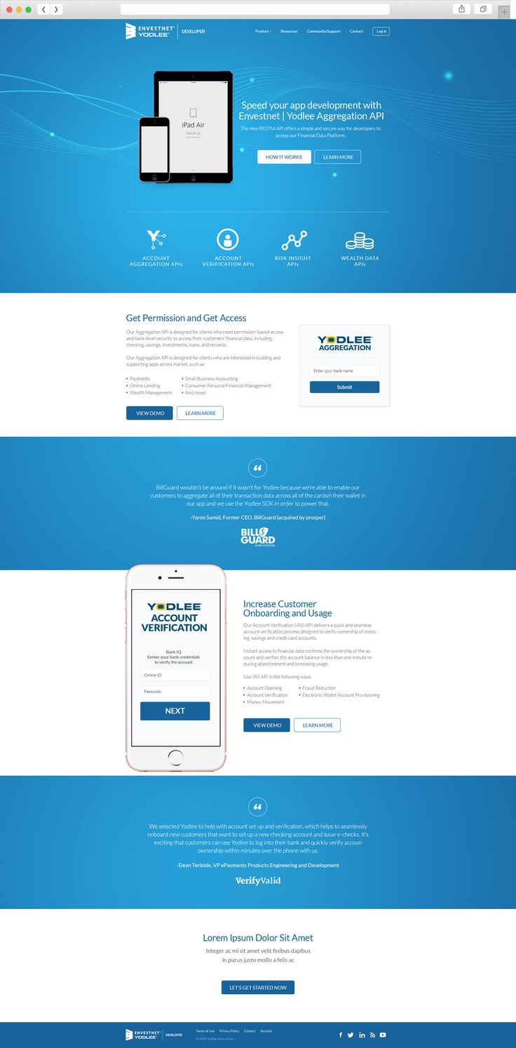 Yodlee | Envestnet website design