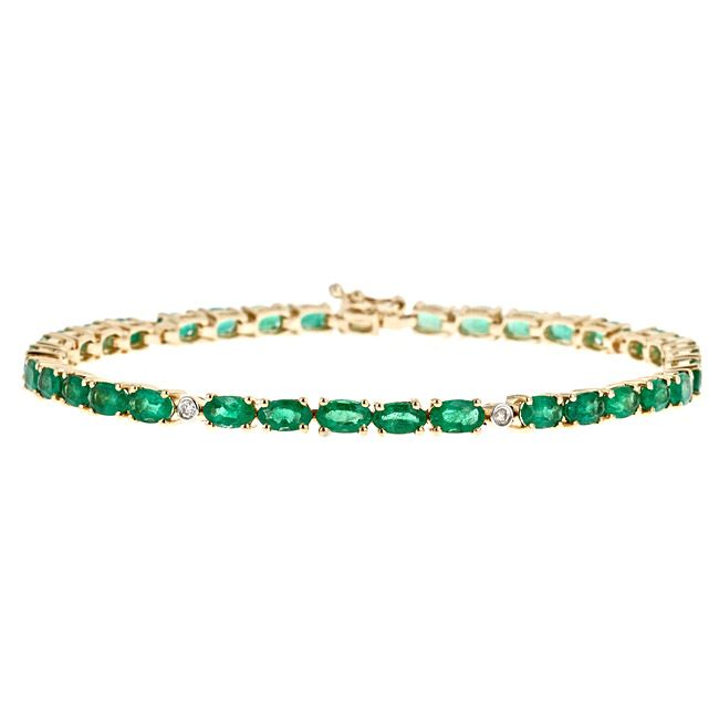D'Yach 14k Yellow Gold Zambian Emerald and 1/10ct TDW Diamond Bracelet (G-H, I1-I2), Green, Size 7.5 Inch