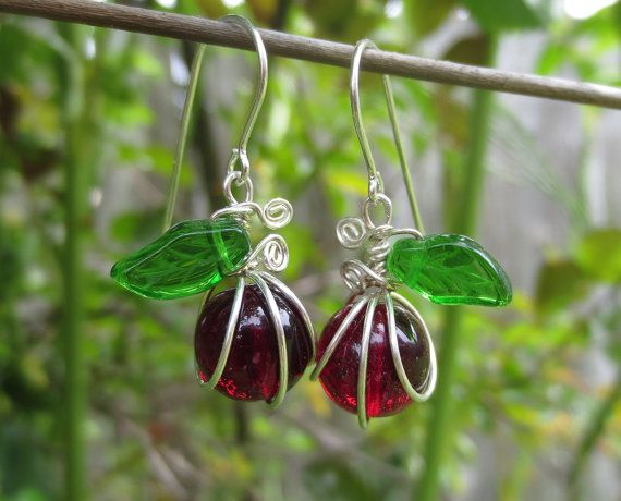 Cute little apple earrings -  teachers gift Ruby Red Apple Glass Earrings  Teacher's Gift by nicholasandfelice, $24.00