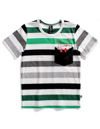 Minti | Spook - Pocket Tee - Green/Grey Stripe