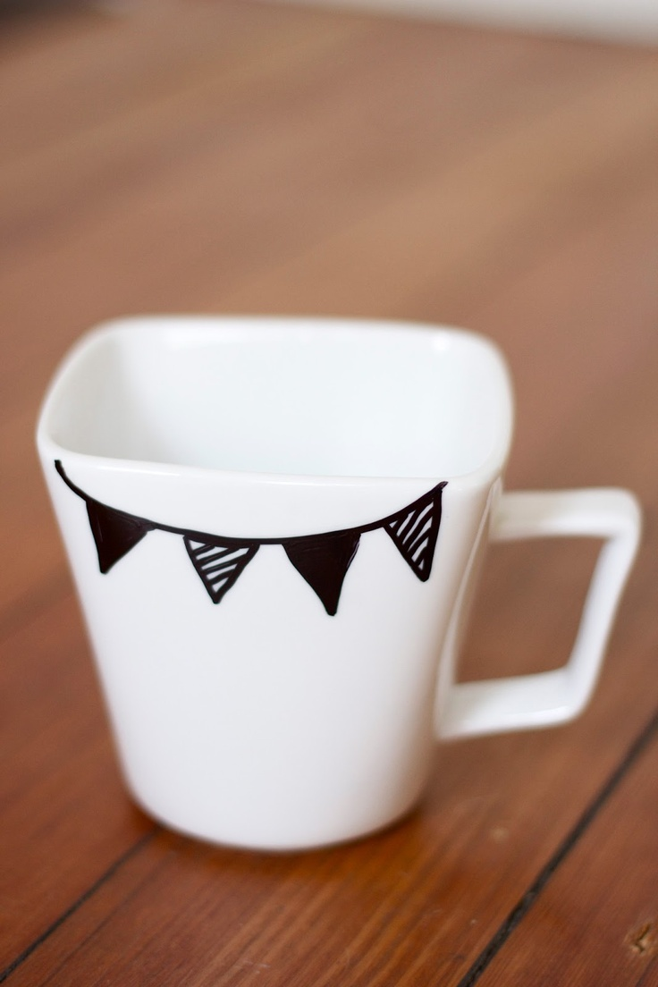 acrylics & icing: Pinterest Challenge: Handpainted Mugs - sharpie paint  pen, bake at