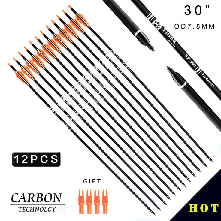 12pcs/lot NEW 30 Carbon Arrow Spine500 with Orange Feather Carbon Arrow for Recurve Bow Arrow or Long Bow Practice /Hunting(China (Mainland))