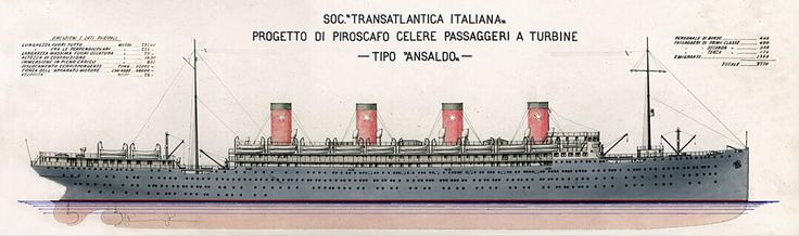 Design for proposed liners for the Transatlantica Italiana, the Andrea Doria and the Camillo di Cavour (c1914), ended being cancelled after the outbreak of the First World War.