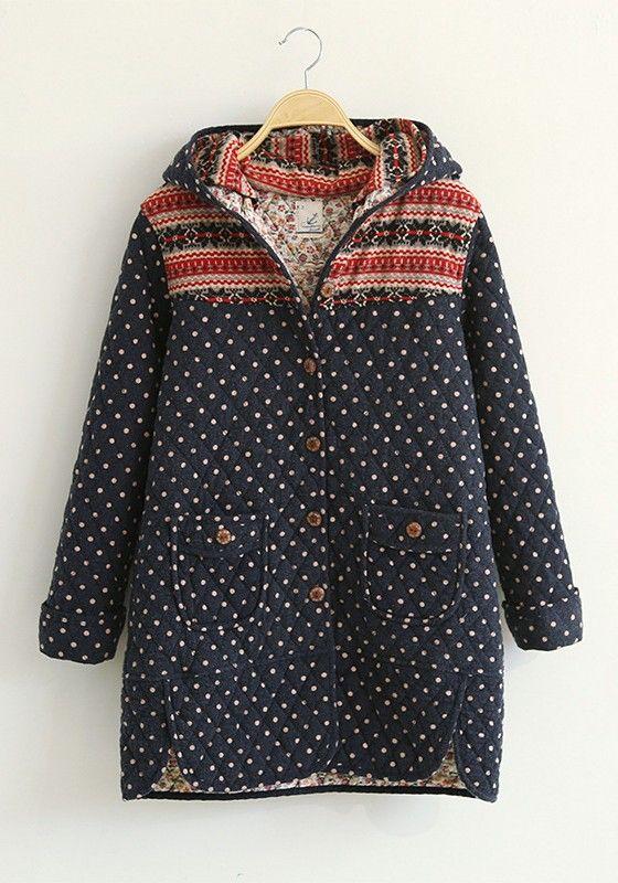 ++ Beige Floral Print Buttons Pockets Cotton Blend Hoodie