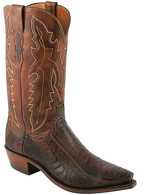 Lucchese Boots Matte Ostrich Leg N1119 Men Chocolate Cowboy Boots #lucchese1883