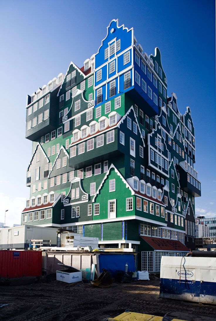 Inntel Hotel Zaandam, The Netherlands. The architecture refers to typical wooden houses from the region.