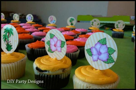 Luau kids birthday party cupcake toppers
