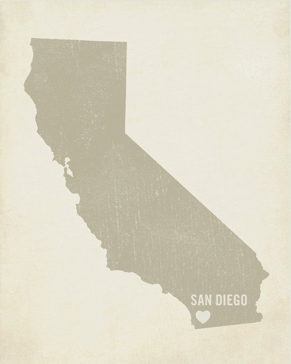 I Love San Diego 8x10 Art Print - California City State Heart.
