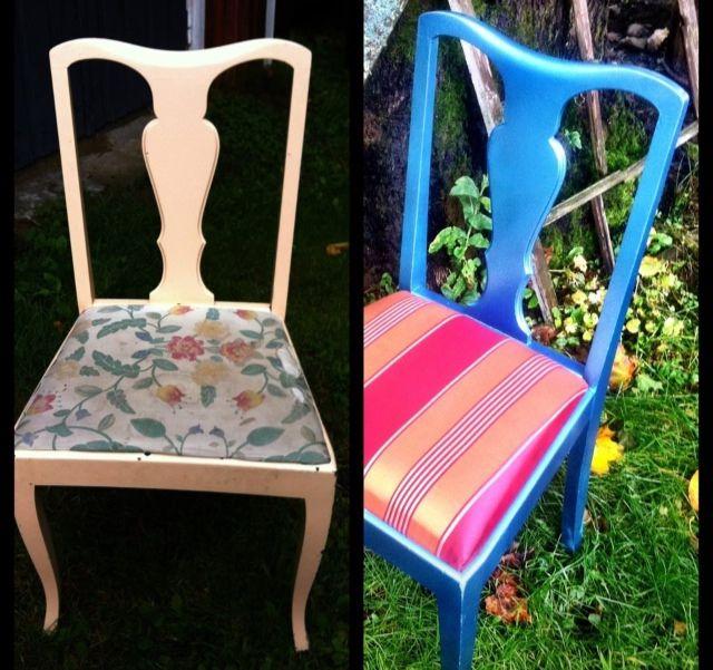 En gammal stol har fått ny färg och tyg