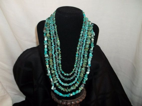 5 strand turquoise necklace by Beadit669 on Etsy, $85.00