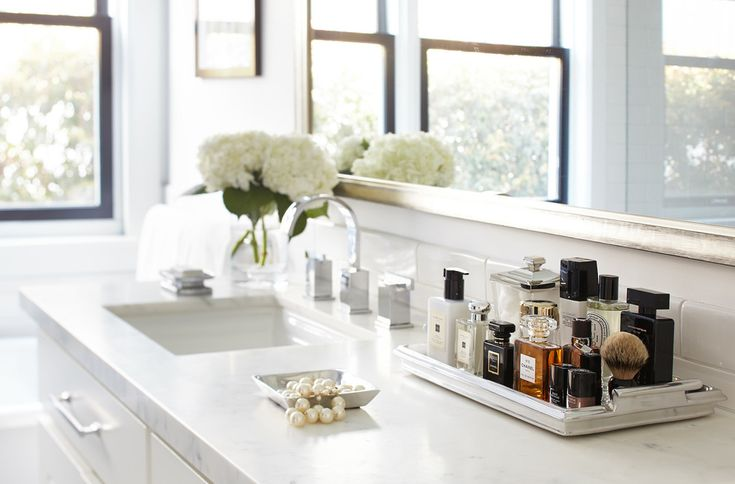 Innovative perfume tray in Bathroom Transitional with Bathroom Display next to Martha Stewart Bathroom Vanity alongside Silver Frame and Gold And Silver