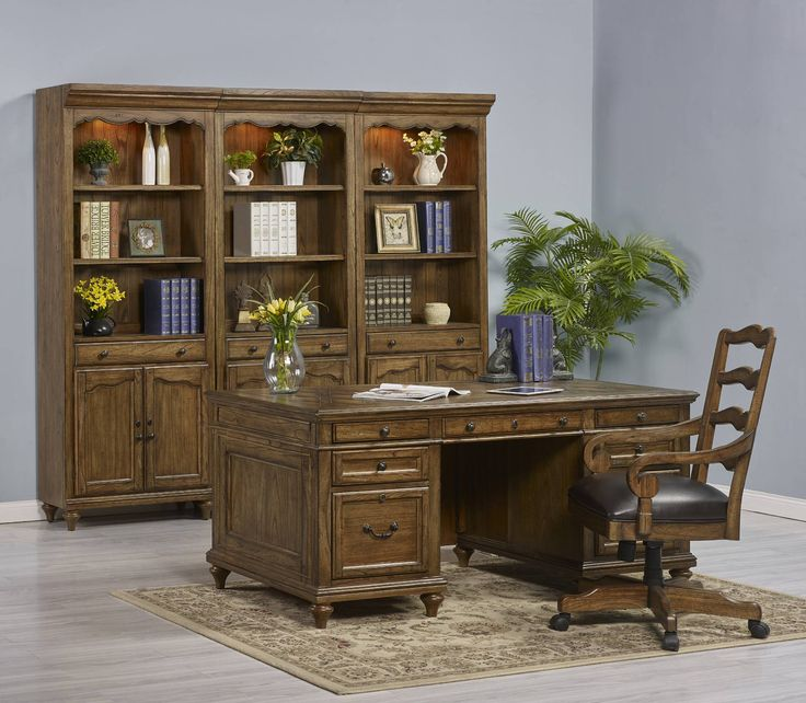 Provincial Homestead Executive Desk With Office Arm Chair In Oak | Turnkey  Products | Home Gallery