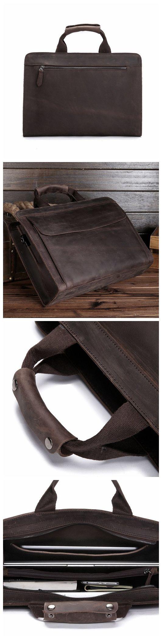 ROCKCOW Genuine Leather Mens Briefcase Laptop Bags Men's Travel Bag Cowhide Men Shoulder Bags Business Man Handbag 80021
