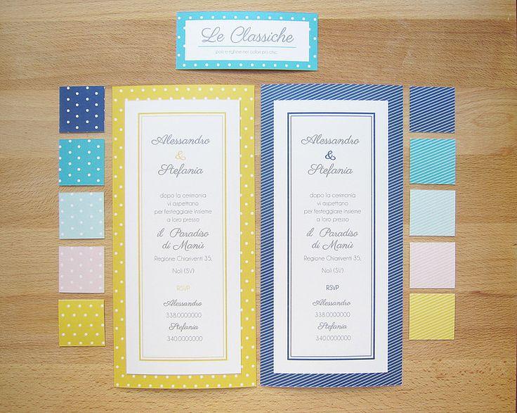 """Le nostre """"classiche"""" - partecipazione e invito a scheda con texture a righe o pois in varie possibilità di colore su carta perlata bianca"""