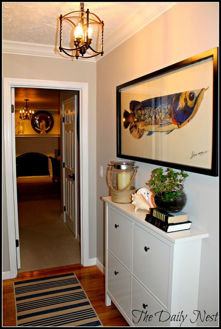 Hemnes shoe cabinet from Ikea as hall console table for tight areas