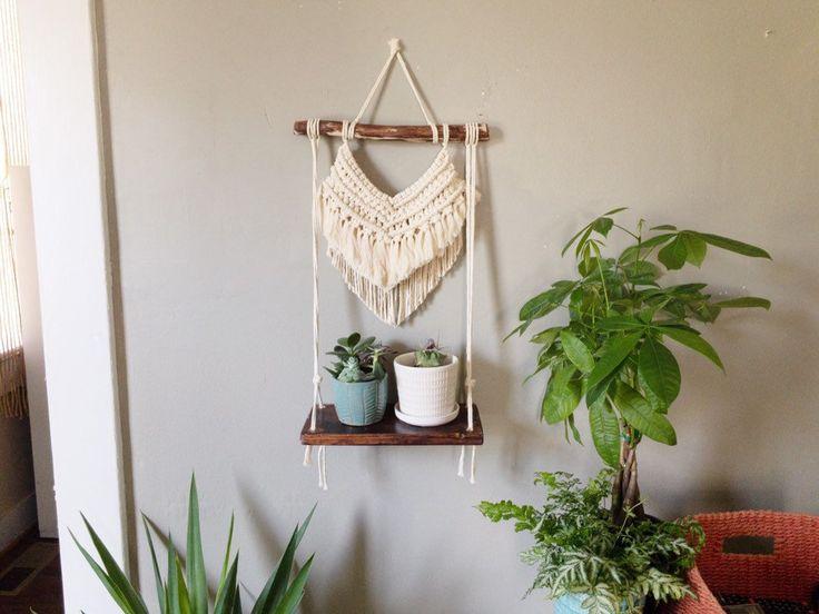 Large Macrame Shelf Wall Hanging/ Boho wall hanging/ Plant hanger/ Macrame hanging shelf/ Modern macrame design/ Rope hanging shelves