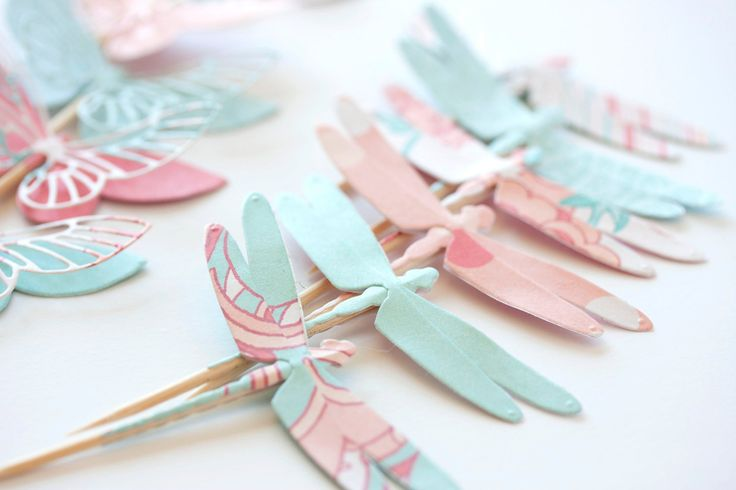 coral mint turquoise pink floral paper cupcake toppers with butterflies and dragonflies