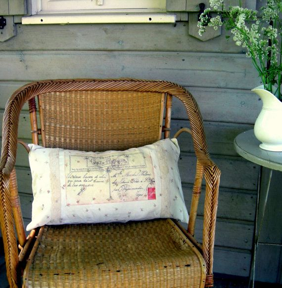 Romantic Postcard Cushion Pillow Cover in linen / Housse de Coussin romantique en lin