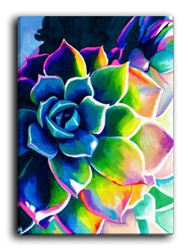 Love the colors mixed together like that. Also, love how all the petals are different sizes and how the flower is placed on the side of the canvas and not in the middle.